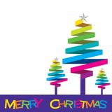 Colorful Christmas tree design. By ribbon, merry christmas Stock Image