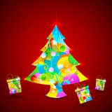 Colorful Christmas Tree and Gift. Illustration of colorful Christmas treewith shiny gift Stock Photography