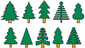 Colorful Christmas tree icons. A set of colorful Christmas tree line art icons Stock Image