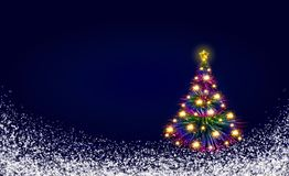 Colorful Christmas tree isolated on blue background. Royalty Free Stock Images
