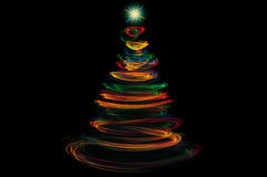 Colorful christmas tree light painting Royalty Free Stock Photo