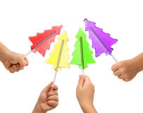 Colorful christmas tree lollipops Royalty Free Stock Photos
