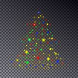 Colorful Christmas Tree made of sparkle isolated on transparent background. Christmas tree, stars l. Ight effect. Abstract design template for Happy New Year Royalty Free Stock Photography