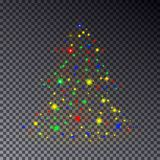 Colorful Christmas Tree made of sparkle  on transparent. Background. Christmas tree, stars light effect. Abstract design template for Happy New Year poster Royalty Free Stock Images