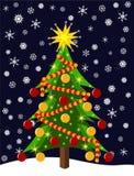 Colorful Christmas tree at night Stock Photos