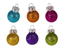 Colorful Christmas tree ornaments collection. Isolated on white background. Decorative baubles set. Shiny glittering New Year balls. Fragile decorations in blue stock photo