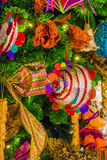 Colorful Christmas tree ornaments and decorations Royalty Free Stock Photo