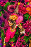 Colorful Christmas tree ornaments and decorations. In night festival. This one is a clown Stock Photos
