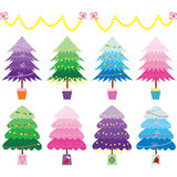 Colorful Christmas Tree set Stock Photos
