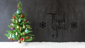 Colorful Christmas Tree, Snow, Calligraphy Thank You. Colorful Christmas Tree On Snow. Black Background With English Calligraphy Thank You Stock Images