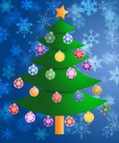 Colorful Christmas Tree Snowflakes Background. Colorful Christmas Tree on Blurred Snowflakes Background Stock Images