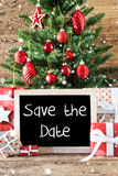 Colorful Christmas Tree, Snowflakes, English Text Save The Date Stock Photos