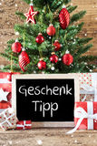 Colorful Christmas Tree, Snowflakes, Geschenk Tipp Means Gift Tip Royalty Free Stock Images