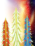 Colorful christmas trees. Colourful abstract Christmas trees with a stars Royalty Free Stock Image