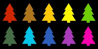 Colorful christmas trees on black background. Colorful fir trees on black background Royalty Free Stock Image