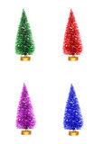 Colorful Christmas trees isolated on white Royalty Free Stock Photos