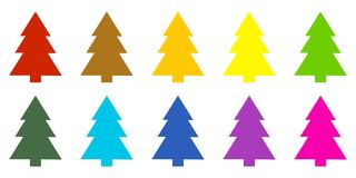 10 colorful christmas trees. Set of 10 isolated colorful christmas trees Stock Images