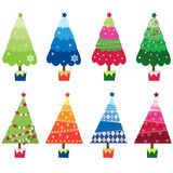 Colorful Christmas Trees Stock Photo