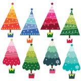 Colorful Christmas Trees Stock Photos