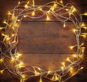 Colorful Christmas warm gold garland lights  Stock Photo