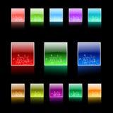 Colorful Christmas web navigation aqua set. Web navigation set with light snowflakes aqua buttons Royalty Free Stock Photography