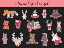 Colorful christmas and winter animal sticker set Stock Photo