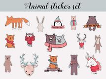 Colorful christmas and winter animal sticker set Royalty Free Stock Photos