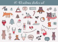 Colorful christmas and winter sticker set Stock Photography