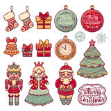 Colorful Christmas wreath with Christmas toys. Royalty Free Stock Photos