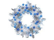 Free Colorful Christmas Wreath Isolated With Red And Yellow Balls On A White Background 3d Rendering Stock Images - 130921004