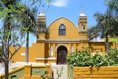 Colorful church in Barranco in Lima stock photography