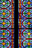Colorful Church Stained Glass Against Light In The Metropolitan Cathedral Basilica of the Assumption of Our Lady of Valencia Stock Photos