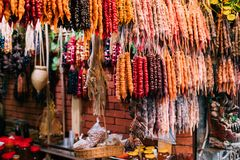 Colorful Churchkhela Is A Traditional Georgian Sausage-shaped Candy. Colorful Churchkhela Hanging In Shop. Churchkhela Is A Traditional Georgian Sausage-shaped Royalty Free Stock Image