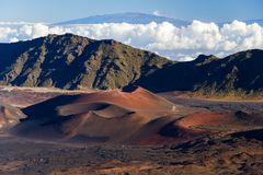 Colorful Cinder Cones Inside Haleakala Crater Stock Image