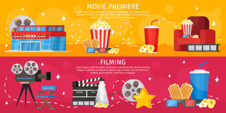 Colorful Cinema Horizontal Banners. With building popcorn soda glasses armchair camera megaphone tickets filmstrip director chair vector illustration Stock Photography