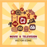 Colorful cinema icons Stock Images