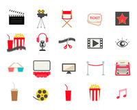 Colorful cinema icons set Stock Images
