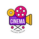 Colorful cinema or movie company logo design with retro camera with reels. Cinematography industry label concept. Flat. Colorful cinema or movie company logo Stock Photo