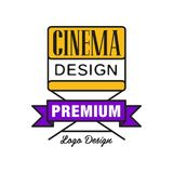 Colorful cinema or movie logo. Cinematography concept with yellow film director`s chair and purple ribbon. Flat line Stock Images