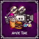 Colorful Cinema Template. With camera reel snack clapperboard popcorn and 3d glasses in doodle style vector illustration Stock Images