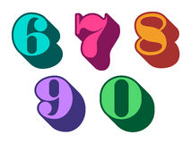 Colorful ciphers numbers digits 6, 7, 8, 9, 0 Stock Photography