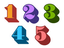 Colorful ciphers numbers digits 1, 2, 3, 4, 5 Stock Photo