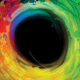 Colorful circle brackground on black. Vector drawing with grunge splashes for poster and advertising design Royalty Free Illustration
