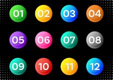 Circle buttons with white calendar month numbers royalty free illustration