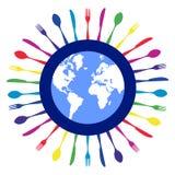 Colorful circle cutlery restaurant design. Stock Photos