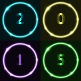 Colorful circle effect with 2015 Stock Image