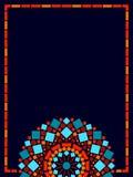 Colorful circle floral mandala frame background in blue and orange, vector. Illustration royalty free illustration