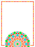 Colorful circle floral mandala frame background in green and orange on white, vector Royalty Free Stock Photos
