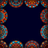 Colorful circle flower mandalas frame in blue red and orange, vector Royalty Free Stock Photography