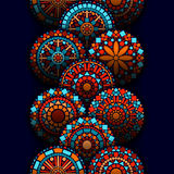 Colorful circle flower mandalas geometric seamless border in blue red and orange, vector. Background vector illustration